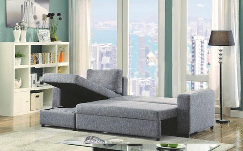 FURNITUREMATTRESSDIRECT-LINEN SECTIONAL SOFA BED WITH REVERSIBLE CHAISE - GREY A121