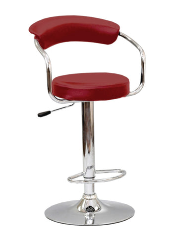 FURNITUREMATTRESSDIRECT-BAR STOOL WITH CURVED BACK & 360° SWIVEL LEATHER SEAT IN  RED D-BS122