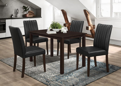 FURNITUREMATTRESSDIRECT-DINETTE SET TABLE IN ESPRESSO AND BLACK H-KS116
