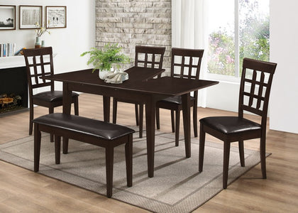 "FURNITUREMATTRESSDIRECT-DINETTE SET IN ESPRESSO WITH 16"" SELF STORING BUTTERFLY LEAF TABLE H-KS133"
