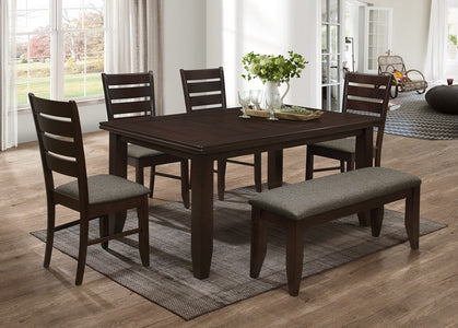 FURNITUREMATTRESSDIRECT-DINETTE SET WITH PLANKED GROOVE TABLE IN ESPRESSO H-KS135
