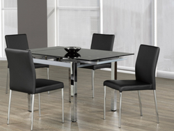 FURNITUREMATTRESSDIRECT-KITCHEN SET- BLACK TEMPERED GLASS-BLACK LEATHER CHAIR H-KS163