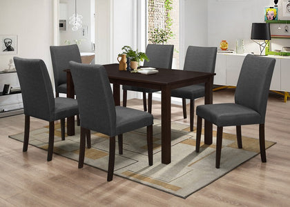 FURNITUREMATTRESSDIRECT-DINETTE SET IN ESPRESSO WITH GREY UPHOLSTERED CHAIR H-KS146