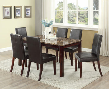 FURNITUREMATTRESSDIRECT-DINETTE SET WITH MARBLE TABLE TOP WITH UPHOLSTERED BROWN CHAIR H-KS138