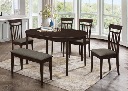 "FURNITUREMATTRESSDIRECT-DINETTE SET ADJUSTABLE TABLE WITH 16"" SELF STORING BUTTERFLY LEAF IN ESPRESSO H-KS128"