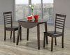 FURNITUREMATTRESSDIRECT-Kitchen Set Solid Wood with Extendable Leafs - 3 pc - Espresso H-KS178