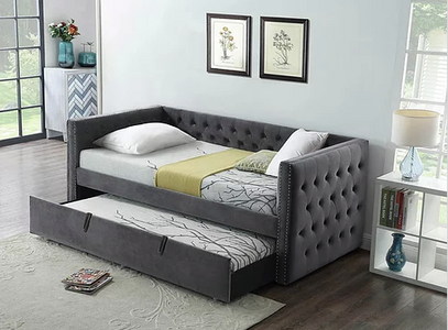 Twin Velvet Trundle Bed-Grey