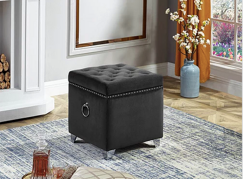 Image of Ottoman with Storage in Grey