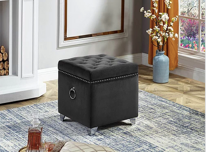 Ottoman with Storage in Grey