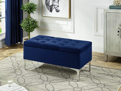 Image of Blue Velvet Storage Bench
