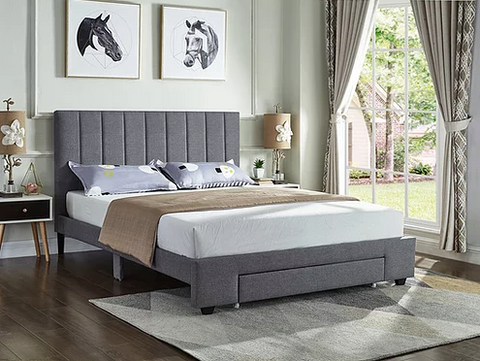Image of Grey Fabric Bed with Padded Headboard