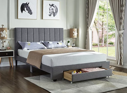 Grey Fabric Bed with Padded Headboard
