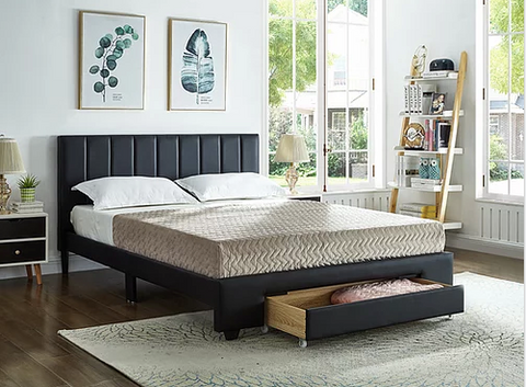 Image of Black PU Bed with Padded Headboard