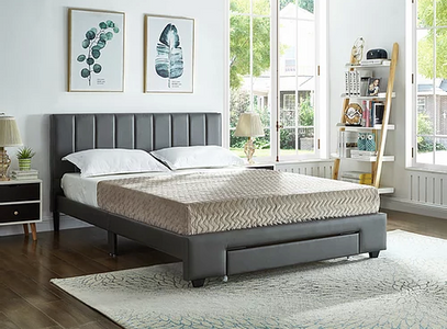 Grey PU Bed with Padded Headboard