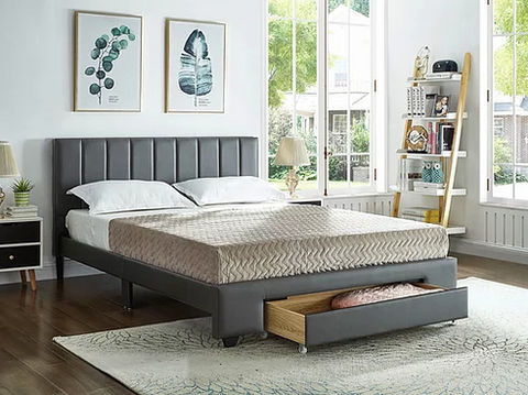 Image of Grey PU Bed with Padded Headboard