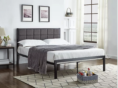 Black Metal Padded Headboard Bed in Grey