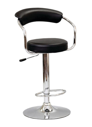 FURNITUREMATTRESSDIRECT-BAR STOOL WITH CURVED BACK & 360° SWIVEL LEATHER SEAT IN  BLACK D-BS124