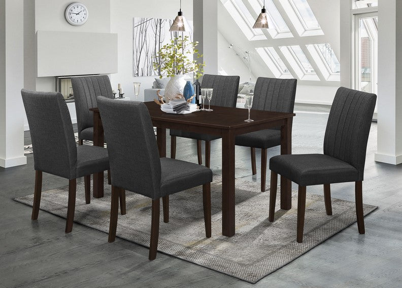 FURNITUREMATTRESSDIRECT-DINETTE SET IN ESPRESSO WITH UPHOLSTERED GREY CHAIR H-KS143