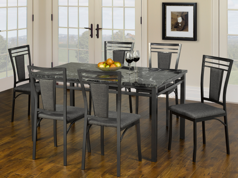 Image of FURNITUREMATTRESSDIRECT-Kitchen Set with Marble Top - 5 pc or 7 pc - Espresso | Gun Metal Grey H-KS174