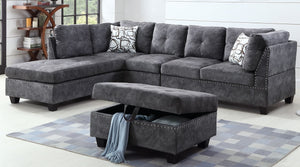 FURNITUREMATTRESSDIRECT-TUFTED SECTIONAL IN GREY A-SL102