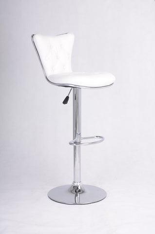 FURNITUREMATTRESSDIRECT-WHITE TUFTED BAR STOOL WITH LEATHER D-BS108