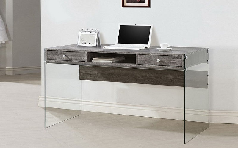 Wood Finish Desk with Acrylic Legs