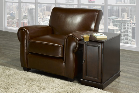 Image of furnituremattressdirect-Chairside End Table Without Power In Espresso