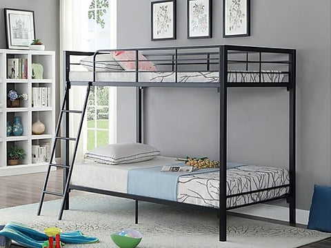 Twin Over Twin Bunk Bed in Black