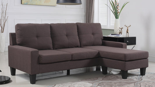 Linen Sectional Sofa With Reversible Chaise-Brown