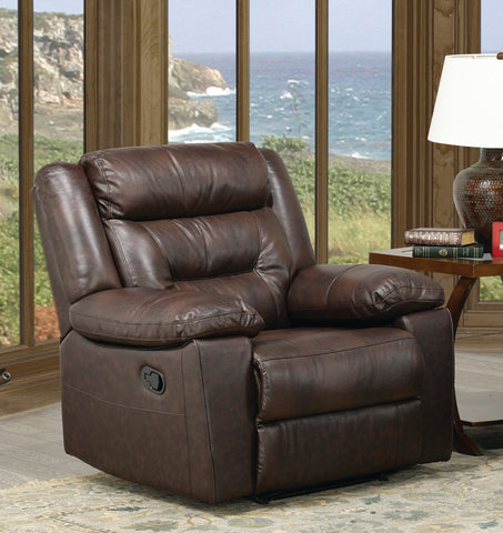 FURNITUREMATTRESSDIRECT-LEATHER RECLINER IN BROWN