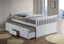 FURNITUREMATTRESSDIRECT-DAY BED WITH TWIN AND FULL CAPTAIN BED-WHITE A-TB113