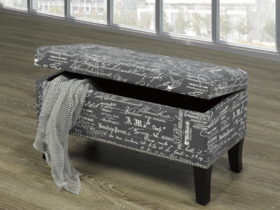 FURNITUREMATTRESSDIRECT-Storage Bench with French Script  in Grey BS106