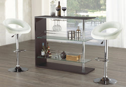 furnituremattressdirect-Bar Set with Stools - 3 pc - White E-PS110