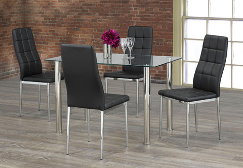 FURNITUREMATTRESSDIRECT-KITCHEN SET WITH CLEAR GLASS TABLE TOP AND BLACK/GREY/WHITE SEAT CUSHION CHAIR H-KS169