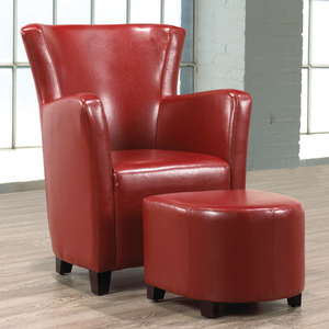 FURNITUREMATTRESSDIRECT-EASY CHAIR WITH OTTOMAN IN ESPRESSO/RED/WHITE A-AC113