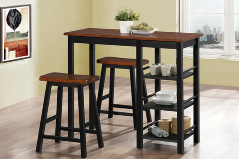 FURNITUREMATTRESSDIRECT-Pub Set with Stools - 3 pc - Dirty Oak | Black E-PS100