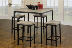 FURNITUREMATTRESSDIRECT-Pub Set with Stools - 5 pc - Reclaimed Wood | Black E-PS106