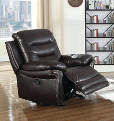 FURNITUREMATTRESSDIRECT-LEATHER RECLINER CHAIR IN BROWN A-AC120