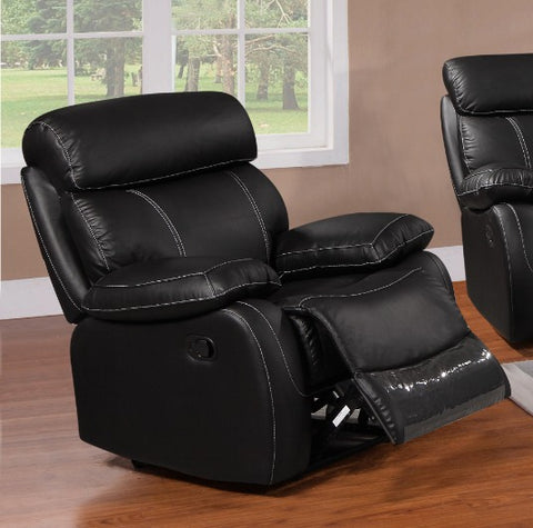 FURNITUREMATTRESSDIRECT-LEATHER RECLINER WITH CONTRAST STITCHING IN BLACK A-AC119