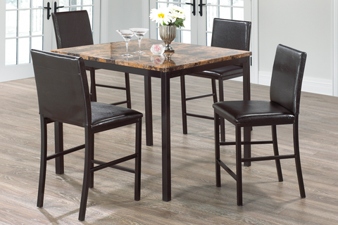 FURNITUREMATTRESSDIRECT-Pub Set with Chairs - 5 pc - Brown | Black E-PS101