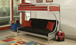 FURNITUREMATTRESSDIRECT-FUTON BUNK BED IN GREY METAL