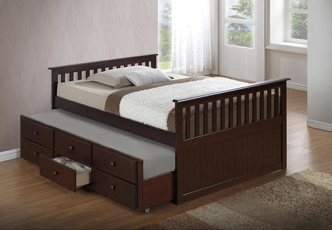 FURNITUREMATTRESSDIRECT-DAY BED WITH TWIN AND FULL CAPTAIN BED-ESPRESSO A-TB112