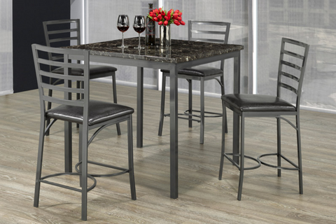 FURNITUREMATTRESSDIRECT-Pub Set with Chairs - 5 pc - Espresso | Grey E-SP102