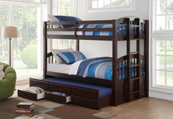 furnituremattressdirect-Trundle Bunk Bed With Storage Drawers in Espresso -INTBED601