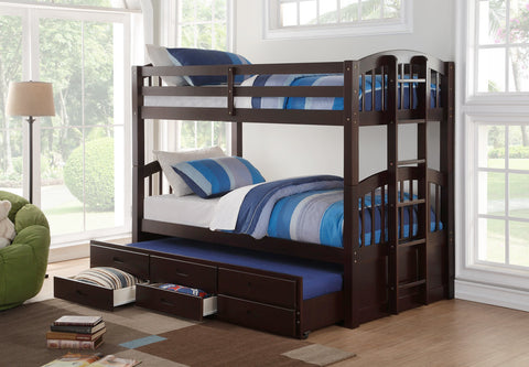 Image of furnituremattressdirect-Trundle Bunk Bed With Storage Drawers in Espresso -INTBED601