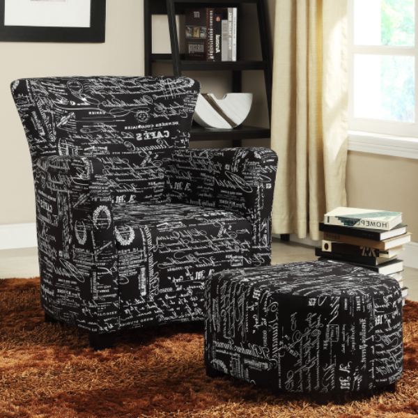 FURNITUREMATTRESSDIRECT-EASY CHAIR WITH OTTOMAN IN BLACK FRENCH FABRIC A-AC114