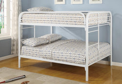 FURNITUREMATTRESSDIRECT-Full Metal Bunk Bed in White Metal- NATBBED999