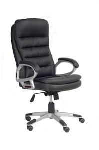 FurnitureMattressDirect-Office Chair in Black with Armrest- NATOFFCHA101