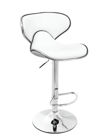 FURNITUREMATTRESSDIRECT-BAR STOOL WITH SWIVEL SEAT IN WHITE LEATHER D-BS126