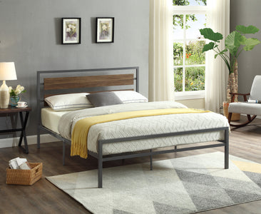 Wood Panel Bed With Steel Frame